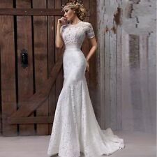 Boho Spring Beach Wedding Dresses Bohemian Mermaid Court Train Lace Bridal Gowns