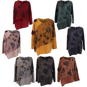 Damen-Italienische-Top-Floral-Panel-Asymmetrisch-Wolle-Patch-Damen-Verband-Tunika
