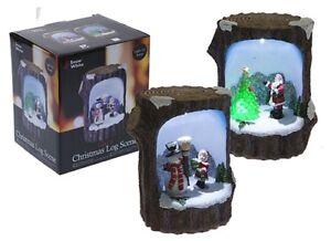 BELLA-decorazione-di-Natale-fibre-ottiche-log-Natale-Scena-illuminare-Babbo-Natale-o-pupazzo-di-neve