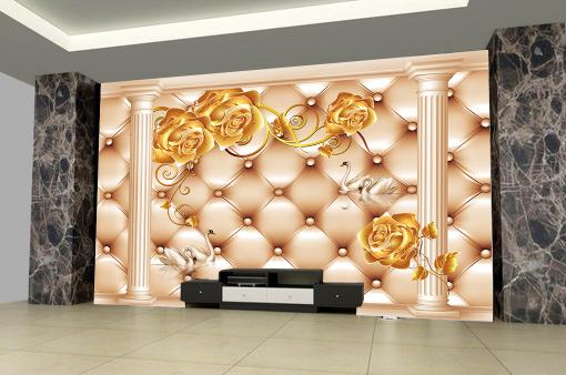 3D Swans Gold Roses 74 Wall Paper Murals Wall Print Wall Wallpaper Mural AU Kyra