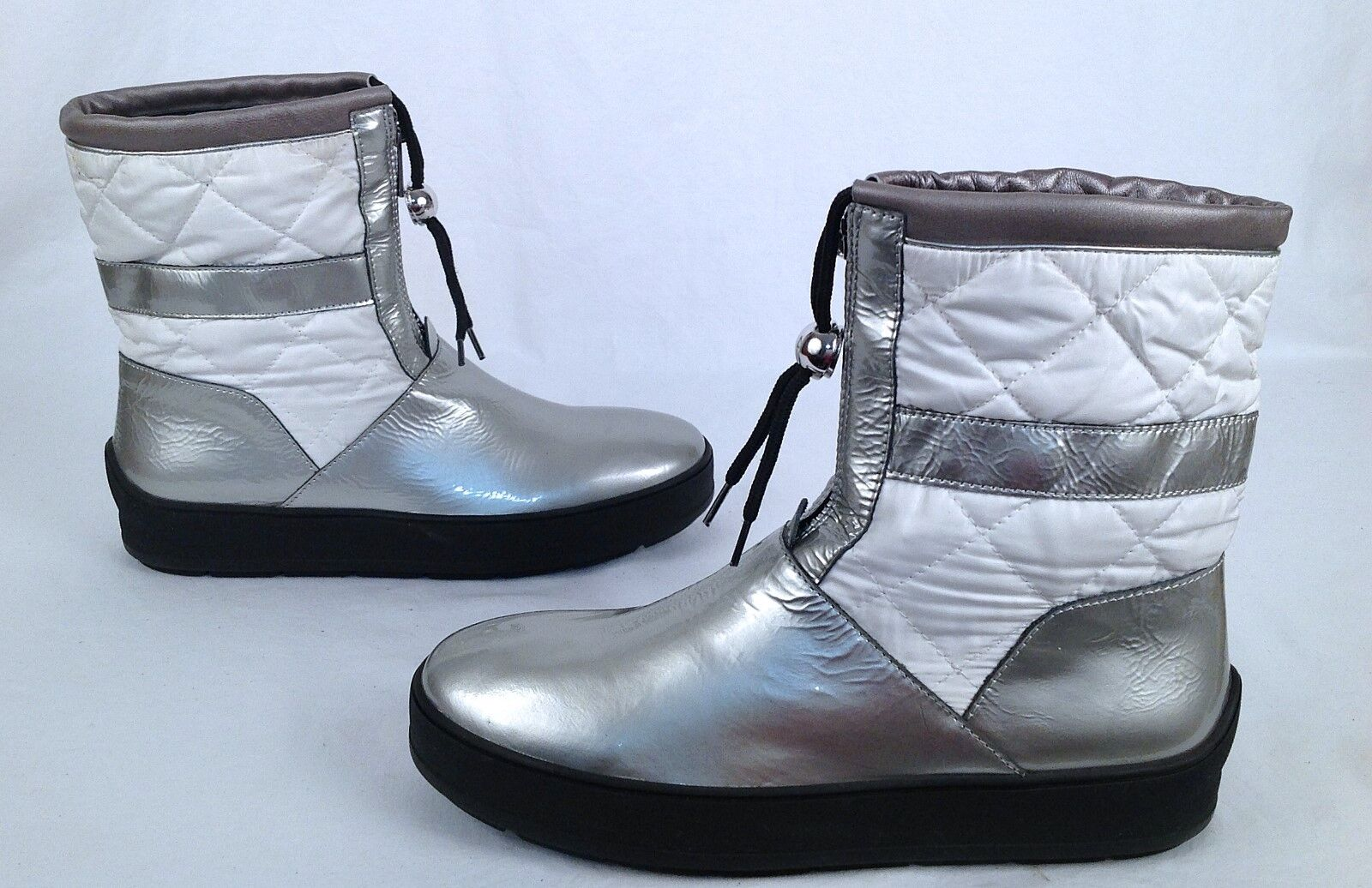 New  Aquatalia 'Kali' White Patent Leather  Quilted Snow Booties-Size 9 M (P17)