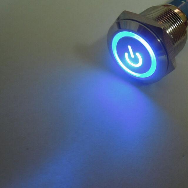 12V 16mm Blue LED Power Symbol Angel Eye Push Button Metal ON/Off Switch Sales
