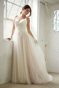 Fairy Wedding Dress.Details About Brand New Lace A Line Fairy Wedding Dress Illusion Neckline Florence Gown