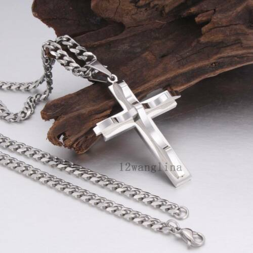 Silver Chain Criss Cross Pendant Necklaces for Mens Curb Link Stainless Steel5MM