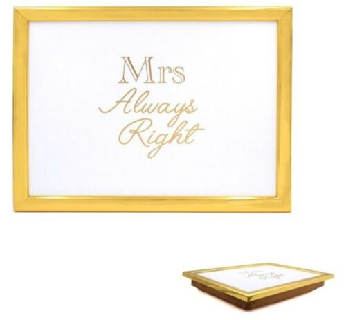 LAP TRAY GOLD COLOUR CUSHION PADDED MR RIGHT MRS RIGHT SOFT WITH BEAN