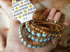 CLOSEOUT-SALE-From-USA-9-99-Joe-Boxer-5-Pcs-Blue-Gold-Stackable-Bracelet-2