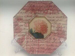 Marye-Kelley-Decoupage-Glass-Plate-Octagon-Botanical-Pink-Artist-Signed-5-5-034-A
