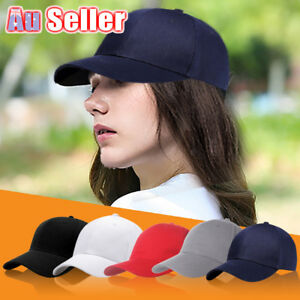 Women-Men-Adjustable-Pure-Color-Blank-Curved-Plain-Baseball-Caps-Visor-Hat-AU