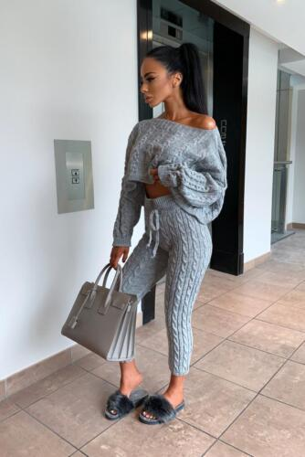 RRP £44.99 Marl Grey 2 Piece knitted Comfy Loungewear Set