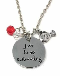 UK-925-Silver-Plt-039-Just-Keep-Swimming-039-Finding-Nemo-Dory-Engraved-Necklace-18-034