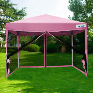 Quictent 8x8 Pink Easy Pop Up Canopy With Netting Screen