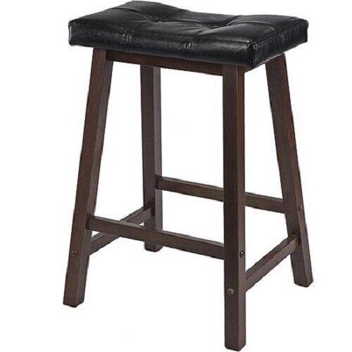 Awe Inspiring Winsome Wood Mona 24 Cushion Saddle Seat Counter Stool Black Walnut Machost Co Dining Chair Design Ideas Machostcouk