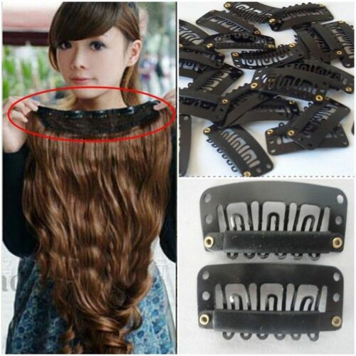 20pcs 32 mm en forme de U Clips pour extension de cheveux//Weft Perruque Noir