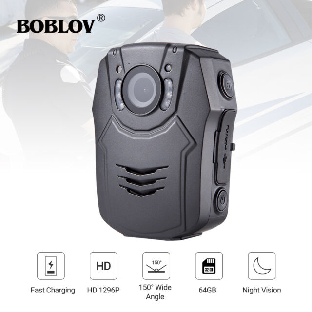 BOBLOV 1296P Body Worn Mounted Camera Night Vision Cam 7H Recoder Built-in 64GB