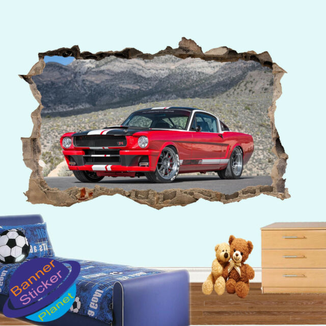 Road Muscle car MUSTANG Autocollant Mural 3D Smashed Chambre Décoration Autocollant Murale YD1