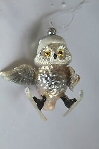 Christmas-Decoration-1-Boxed-Hanging-Real-glass-Glitter-Skier-Owl-ornament