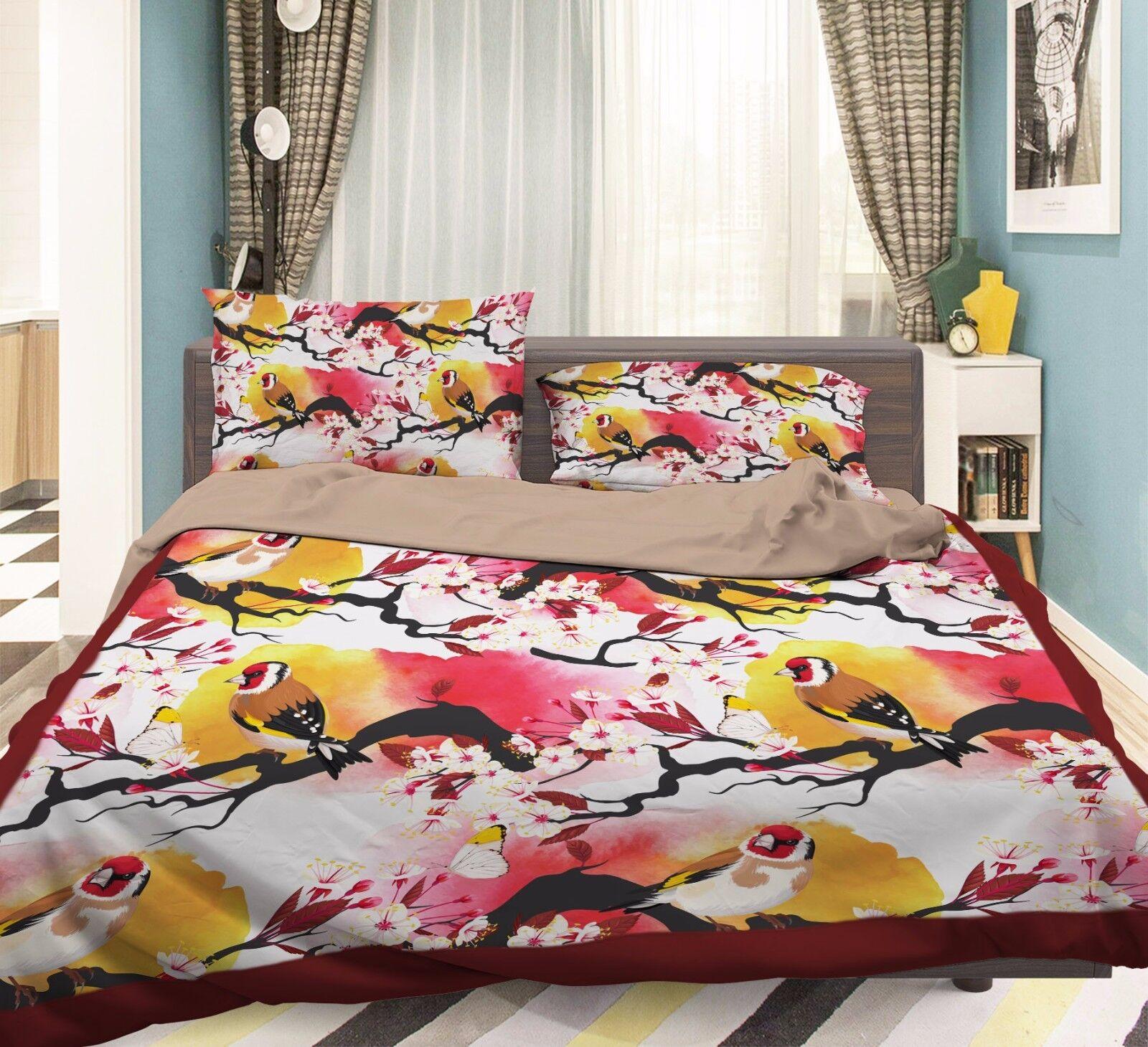3D Flower Bird Watercolors 5 Bed Pillowcases Quilt Duvet Cover Set Single Queen
