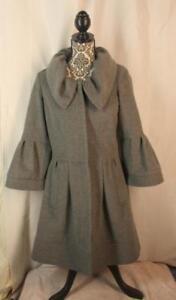 DIANE-von-FURSTENBERG-DVF-Coat-Size-6-SAFFRA-Wool-Blend-Gray-Bell-Sleeve