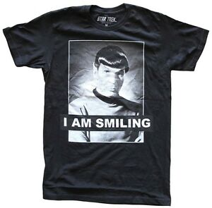 Star-Trek-Spock-I-Am-Smiling-Black-Men-039-s-T-Shirt-New