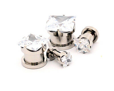 Pair of SQUARE CZ Gem Steel Screw on Plugs 316L gauges set