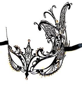 Stunning Black Butterfly Venetian Style Metal Filigree Masquerade Mask Diamante