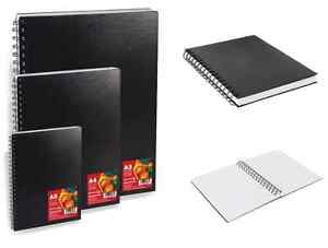 REEVES-A3-A4-A5-BLACK-HARDBACK-SPIRAL-BOUND-ARTIST-SKETCHING-DRAWING-BOOKS-PADS