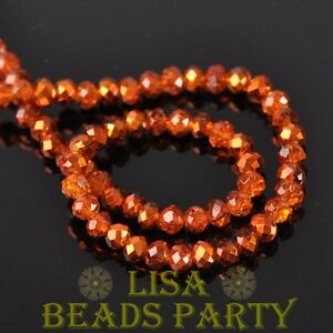 New-500pcs-4X3mm-Faceted-Rondelle-Crystal-Glass-Loose-Spacer-Beads-Orange-Red