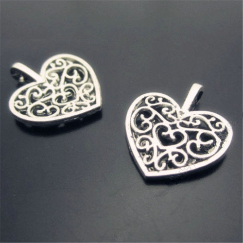 20pc Tibet silver hollow flower heart charm pendant bead accessories  PL035