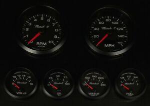 C2 6 Gauge Set, Black Dials, Black Bezels, 73-10 Ohm Fuel Level, 2068BLK