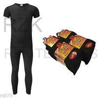 Men's Black Thermal Set, Short Sleeve Thermal Set + 6 Pairs Of Socks, Gift Idea