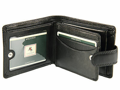 Visconti Gents Soft Leather Wallet For Banknotes, Credit Cards & Coins - Black