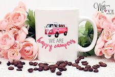HAPPY CAMPERS CAMPER VAN COFFEE MUG TEA CUP PERSONALISED GIFT ANY COLOUR VAN