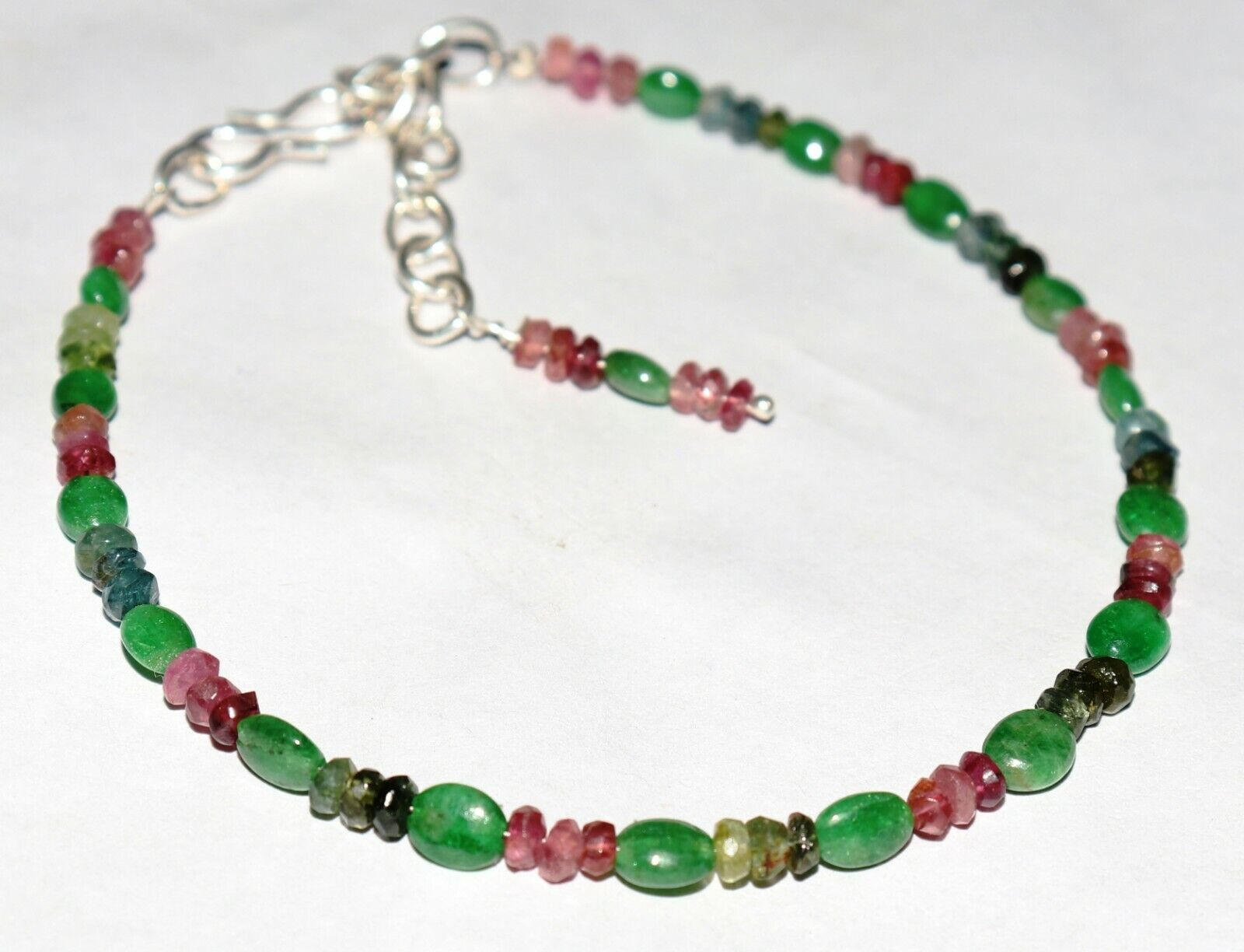 Genuine Tourmaline faceted roundel with Tsavorite Oval Beads Bracelet