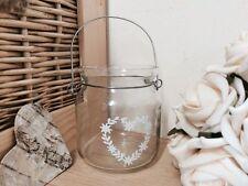 Hanging Glass Jar Candle Tea Light Holder Heart Vintage Wedding Decoration