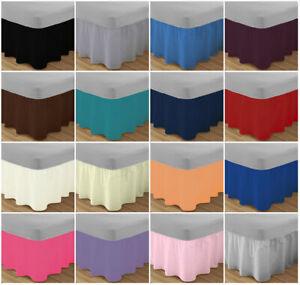 New Base Valance Box Pleated Luxury Plain Dyed Poly Cotton Platform Sheets