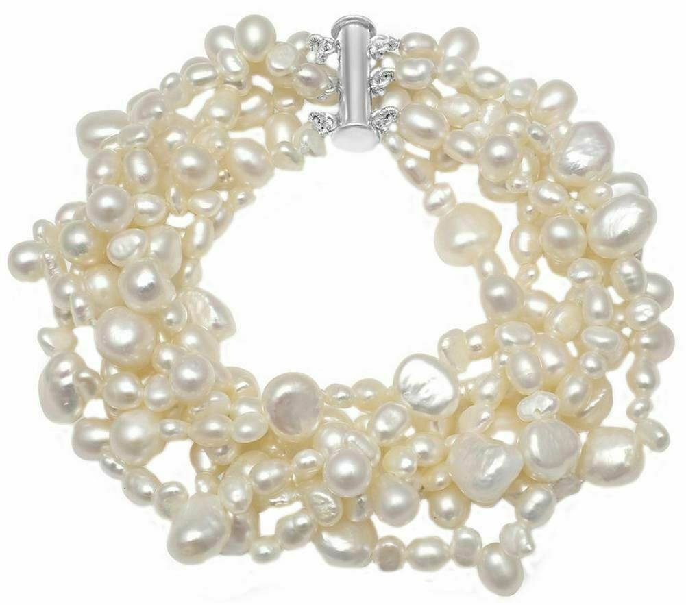 Pearls of the Orient Womens Multi Strand Cultured Pearl Bracelet - White