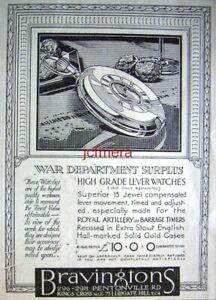 BRAVINGTON-W-D-Surplus-WW1-Artillery-Watches-1922-ADVERT-2-Small-Print-AD
