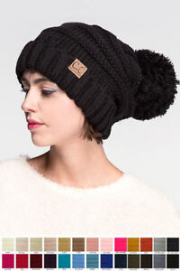 dcdae7bc96b Jinscloset C.C Warm Chunky Soft Oversized Cable Knit Slouchy Beanie ...