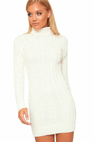 NEW Womens Polo High Neck Long Sleeve Cable Knitted Jumper Dress Ladies Bodycon