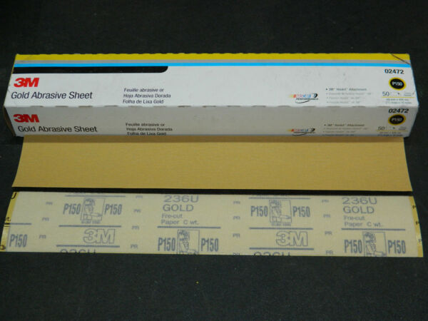 "(1) New Box 3m 02472 Hookit (50) Gold Abrasive Sheets 2-3/4"" X 16"" P150 Grit"