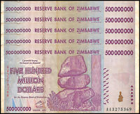 Zimbabwe 500 Million Dollar Banknote X 5 PCS, 2008, AA Series, USED