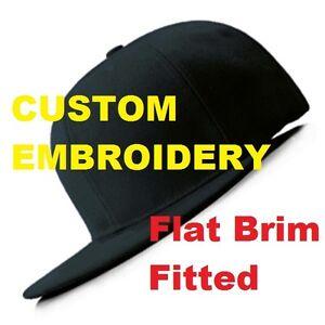 fcf89f28aeb Image is loading CUSTOM-Personalised-Embroidery-Black-FITTED-FLAT-Peak- Closed-