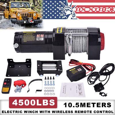 4500LB Winch ATV UTV 12V Electric Remote Waterproof Boat Steel Cable Kit  offroad | eBayeBay