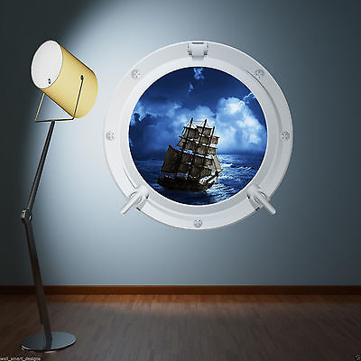 PIRATE SHIP SEA PORTHOLE Full Colour Wall Sticker Decal Transfer Mural Boy Print