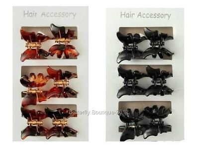 6 Mini Butterfly Hair Clips Clamps Claws Grips In  Black