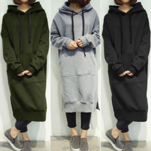 Womens Baggy Hoodies Ladies Long Hooded Dress Sweatshirt Pullover Tops Pockets