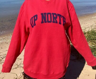 "Unisex /""Up North/"" Sweatshirt Red with Navy Blue Print Size XL Super Soft New"