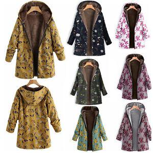 größte Auswahl neueste auswahl Sonderkauf Details zu Damen Übergröße Retro Blumen Wintermantel Verdicken Parka Jacke  Outwear Mantel
