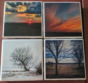 Set Of 4 Photo Coasters Ceramic Handmade With Original landscape Photography