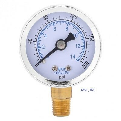 "Other Hydraulics & Pneumatics Gauge 2-1/2"" Face S/s Case 0-200 Psi/bar 1/4"" Npt Brz Lower Liq Fill<520er22 Chills And Pains Air Pressure Gauges"